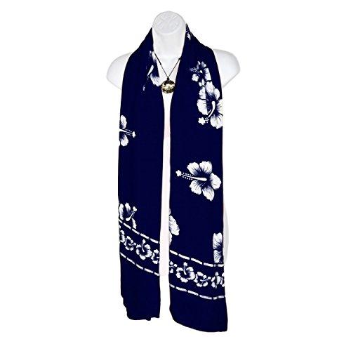de mundo flores con blanca 1 marino azul de Sarongs mujeres para Bufanda hibisco wzSPg