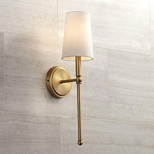 "Greta 21"" High Warm Brass Wall Sconce with Linen Shade - Regency Hill"