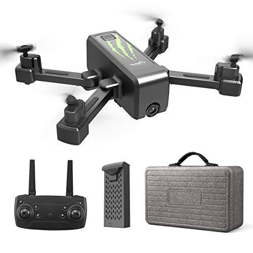 HR H5 RC Foldable Quadcopter Photography Drone 2.4GHz WiFi with 1080P FHD Gimbal Camera Drone, Gesture, Follow Me, FPV Quadcopter Beginners Drone (Black)