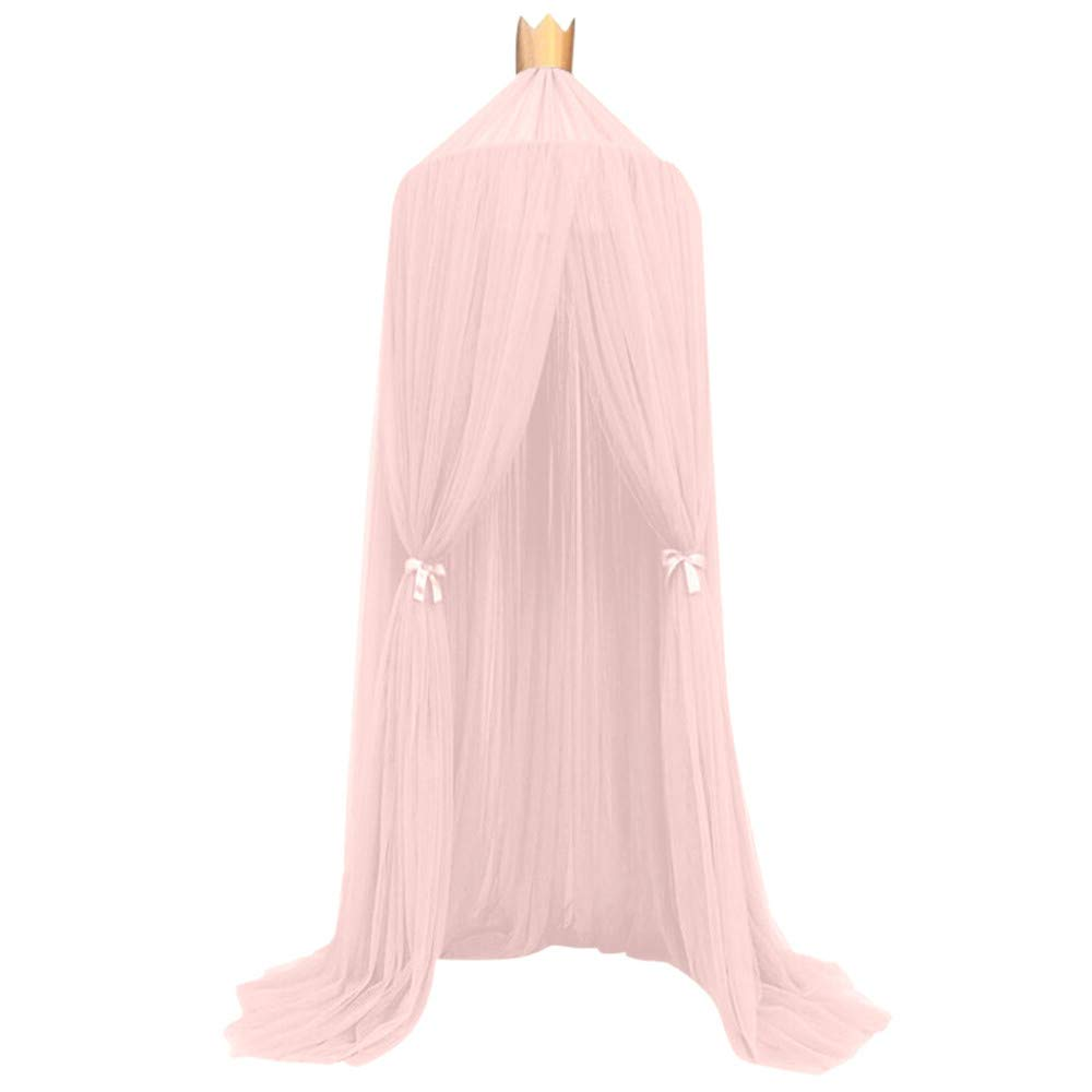 Mosquito Net Canopy Kids Baby Bed Canopy Crown Bedcover Round Dome Hanging Mosquito Net Kids Babies Tent for Baby Crib Castle Game Nursery Play Room Decor - 94.5x19.7'' - Shipped from USA!!! (Pink)
