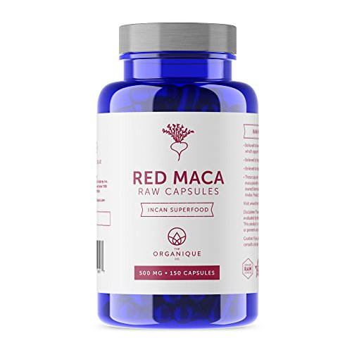 The Organique Co. Red Maca Root Powder Capsules - 3000mg Per Serving, 150 Vegan Pills - Certified Organic, Raw, Non-GMO Supplement - Energy, Female Fertility, Hormone Balance