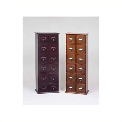 Library Cd Storage - Leslie Dame CD-228C Solid Oak Library Card File Media Cabinet, 12 Drawers, Cherry