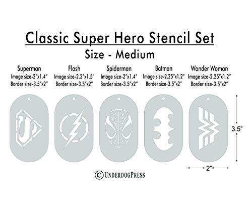 Stencils- Classic Super Hero Set of 5, Size 1 from Underdog Press