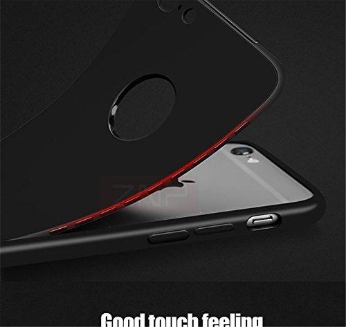 Funda iPhone 7 360 grados 2 en 1 Ultra delgado Cubierta frontal + contraportada Suave silicone Protección completa Funda Bumper DECHYI Para iphone 7 (4.7 -Azul claro) negro