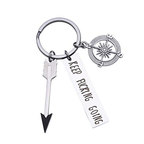 Inspirational Arrow Keychain Gifts for Her/Him-Keep Fcking Going, Personalized Stainless Steel Keychain Graduation Gift Best Friend Gifts (Style A)