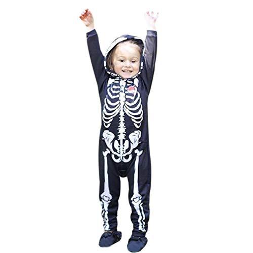 Hunzed Kids Jumpsuit Outfits Clothes, Toddler Infant Baby Boys Hooded Skull Skeleton Romper (12M, Black ()