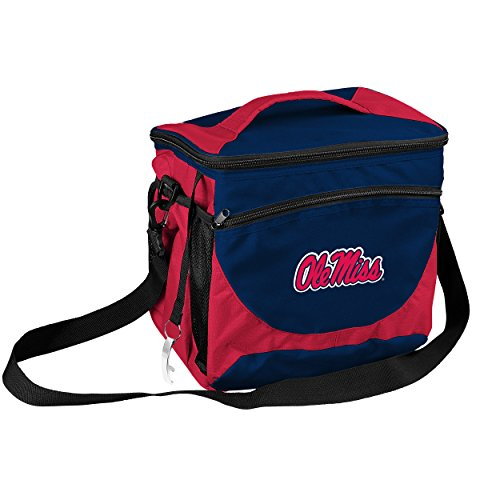 Front Cooler - Logo Brands Collegiate 24-Can Cooler with Bottle Opener and Front Dry Storage Pocket Ole Miss 24 Can Cooler