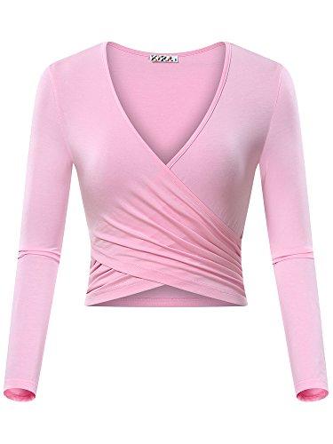 - KIRA Womens Deep V Neck Long Sleeve Basic Slim Fit Surplice Wrap Crop Top