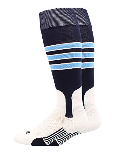MadSportsStuff Baseball Stirrup Socks 3 Stripe (Navy/Columbia Blue/White, -