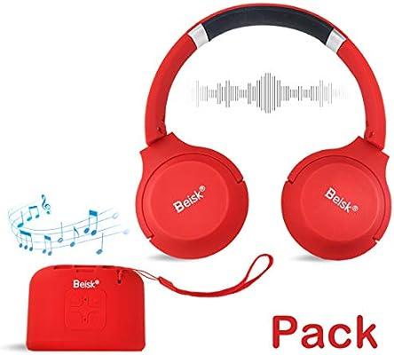 Beisk, Pack Mini Altavoz Bluetooth Portátil + Auriculares Bluetooth, con 8-10 Horas de Reproducción, Sonido Estéreo 360º, Radio FM, TWS, Ideal para Camping, Playa, Viaje, Fiesta, Hogar, Color Rojo: Amazon.es: Electrónica