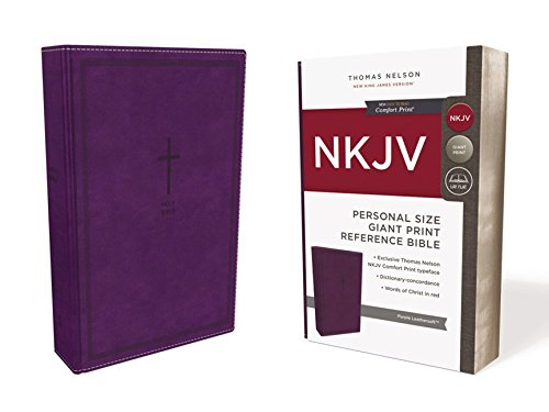 NKJV, Reference Bible, Personal Size Giant Print, Leathersoft, Purple, Red Letter Edition, Comfort Print