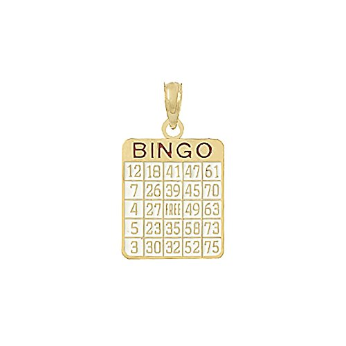 14k Yellow Gold Sports Charm Pendant, Bingo Card with (14k Gold Bingo Card Charm)