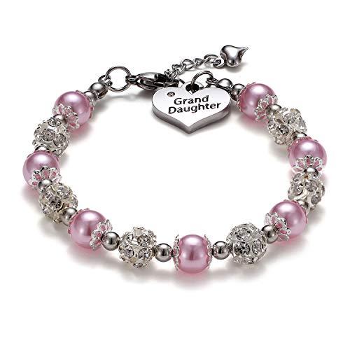VINJEWELRY Girls Charm Bracelet Handmade Jewelry Gifts (Grand Daughter 02)