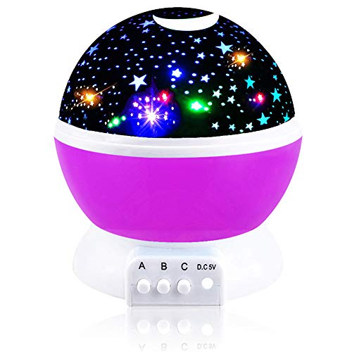 Toys for 7-8 Year Old Boys Girls, Tisy Wonderful Quiet Rotating Starlight Toys for 2-10 Year Old Girls Romantic Magical Christmas Gifts for 2-10 Year Old Boys Purple TSUSXK002 -