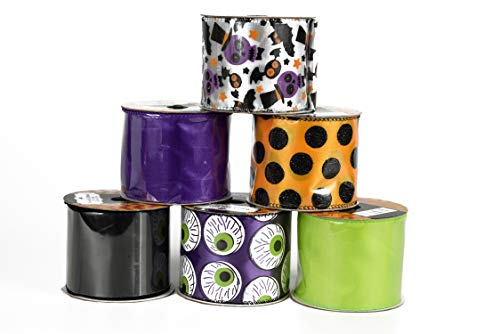 Set of 6 Halloween Wired Ribbon Rolls! 3 Yards of Ribbon Per Roll! Spooky Halloween Decorations Perfect for Classrooms, Schools, Parties and More! (Set 2)