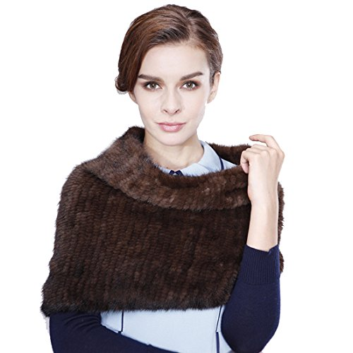 Knit Women's Knitted Mink Cowl / Snood Scarf Shawl (Coffee) by URSFUR