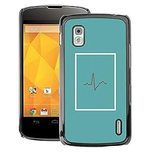 A-type Arte & diseño plástico duro Fundas Cover Cubre Hard Case Cover para LG Nexus 4 E960 (Doctor Beat Teal Er Life Minimalist)