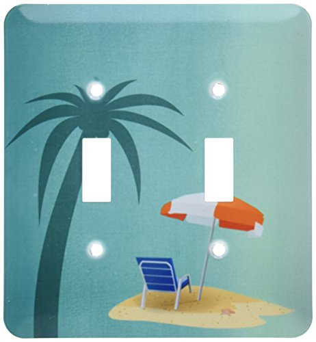 lsp_212860_2 Print of Palm Tree Beach Chair & Umbrella on...