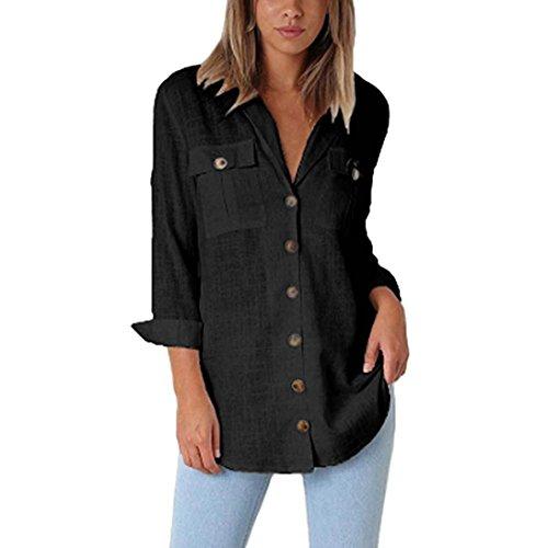 Trendinao Womens Loose Button Long Shirt Dress Cotton Ladies Casual Tops T-Shirt Blouse (Black,X-Large) (Baseball Bamboo Bat Classic)