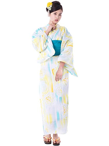 KYOETSU Women's Elegance Yukata 3 Piece Set (Yukata/Obi/Geta sandals) (Medium (Japan Size BL), FM-16(Obi Turquoise)) by KYOETSU
