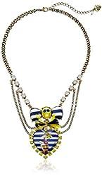 "Betsey Johnson ""Ship Shape"" Pin Up Girl Skull Heart Necklace, 16.5"" + 3"" Extender"