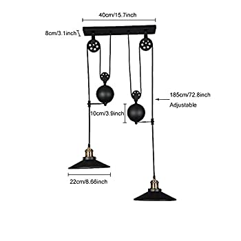WINSOON American Country Style Pulley Droplight Antique Retro Iron Pendant Ceiling Lighting Adjustable Wire Lamps (2 Heads)