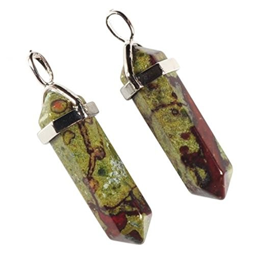 - Pair Gemstone Rock Crystal Healing Hexagonal Point Chakra Reiki Pendant Bead (Dragon Blood Jasper)
