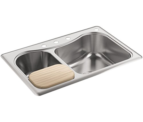 KOHLER K-3361-4-NA Staccato Dual Large/Medium Self-Rimming Kitchen Sink, Stainless Steel (Self Bowl Double Kohler Rimming)