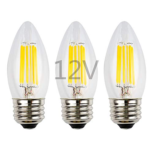 12v Ac Led Bulbs - OPALRAY 6W Low Voltage LED Bulb, 12V AC/12V DC, Dimmable with PWM DC Dimmer, Warm White Light, E26 Common Base, 600Lm 60W Incandescent Equivalent, 12V-24V Power Supply, Clear Glass Torpedo Tip, 3 Pack