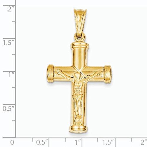 Or 14ct-Pendentif Crucifix creux-Dimensions 48x 24.9mm