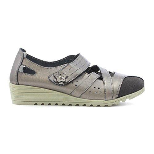 Cushion Walk Womens Pewter Leather Casual Shoe Multicolour JMXpEqR7q8