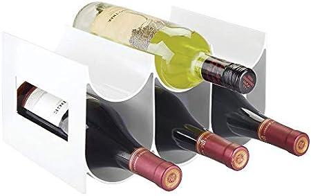 ELEGANTE ALMACENAJE: Estos botelleros de plástico guardan hasta 6 botellas de vino u otras bebidas y