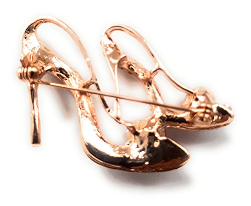 halo accessories Gold plated rhinestone & red heart High heel shoes brooch J10 qQWqc3b06