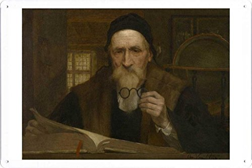 Artwork Oil Paint of Edmond Van Hove - Philosopher on Tin Sign by Masterpiece Collection (20*30cm) (Hove Collection)