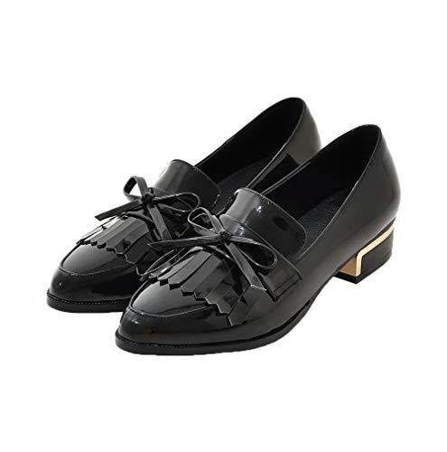 Puro AgooLar Basso Tacco Flats GMMDB006437 Donna Nero Tirare Ballet Fq5qpWSr6w