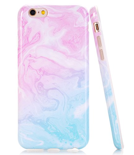 Iphone Blue Silicone Skin - iPhone 6 Case, iPhone 6s Pink Blue Marble Pattern Case JDBRUIAN Slim Fit Flexible Soft TPU Bumper Shockproof Rubber Silicone Skin Cover for iPhone 6 6s 4.7 inch