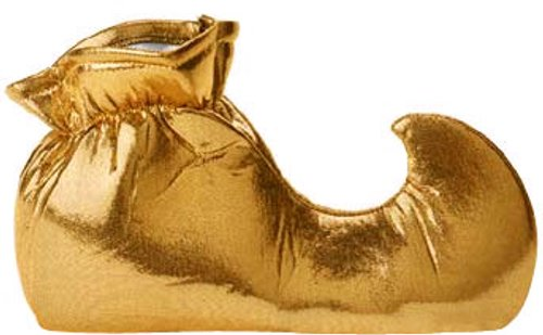 Adult Gold Jester Costume Shoes (Size:Small)