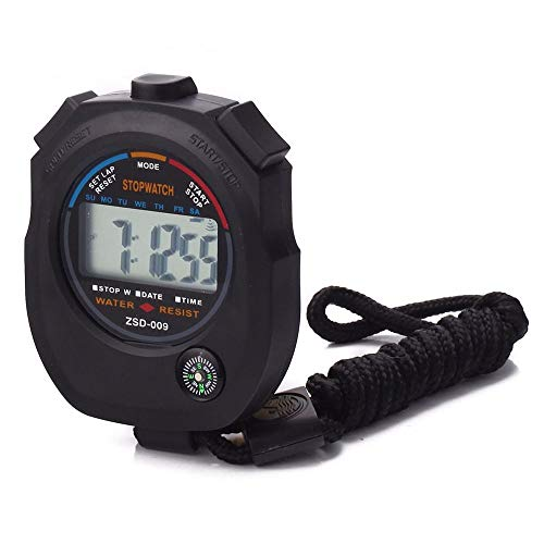 maxgoods Handheld Digital LCD Sport Stopwatch Timer Professional Chronograph Counter with String&Compass Odometer Watch (B)