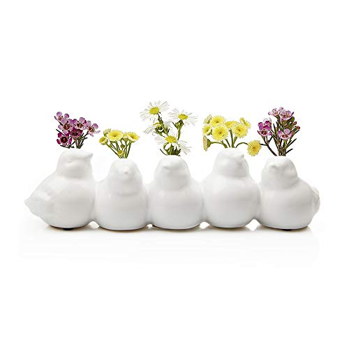 Chive - Sisken Unique Ceramic Bird Vase, Small Bud Vase for Short Flowers, Decorative Floral Vase for Home Décor, Flower Arranging, Low Laying Vase for Tabletop, 5 Interconnected Birds (White)]()