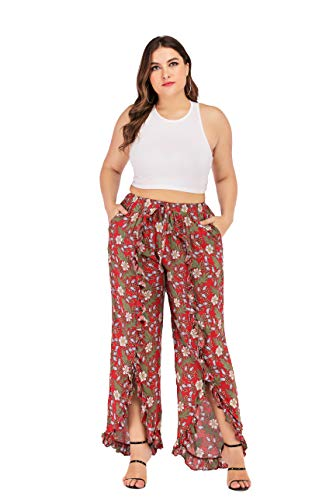 Women's Summer Wide Leg Floral Slit Ruffled Flounce Elastic High Waist Boho Hippie Palazzo Pants Plus Size (Rust red Floral, M) ()