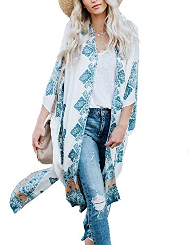 Women#039s Open Front Cover Ups for Swimwear Women Fall Summer Spring Floral Kimono Cardigan Wraps Shawls White XL