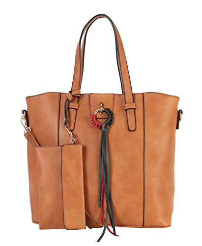 Diophy Set Front Large Tote Taupe Tassels Leather Circle 6537S PU Woven 3 Pieces WY rvYnrA