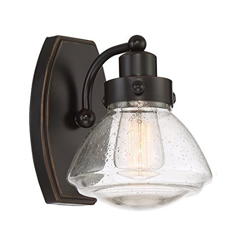 Quoizel SCH8601PN Scholar Glass Schoolhouse Vanity Wall Lighting, 1-Light, 100 Watt, Palladian Bronze 9 H x 7 W