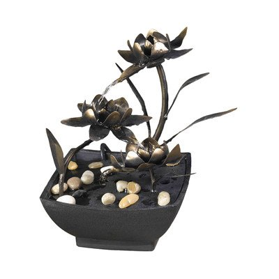 Jeco Cadono Metal Flower Tabletop Fountain