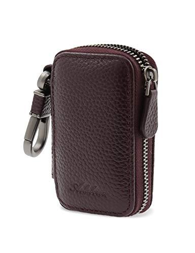 AslabCrew Car Key case Genuine Leather Car Smart Key Chain Keychain Holder Metal Hook and Keyring Zipper Bag for Remote Key Grain-DeepPurple