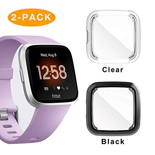 Screen Protector for Fitbit Versa Lite,2 Pack iHYQ TPU Plated All-Round Cover Case Compatible Fitbit Versa Lite (Best Plated Rounds)
