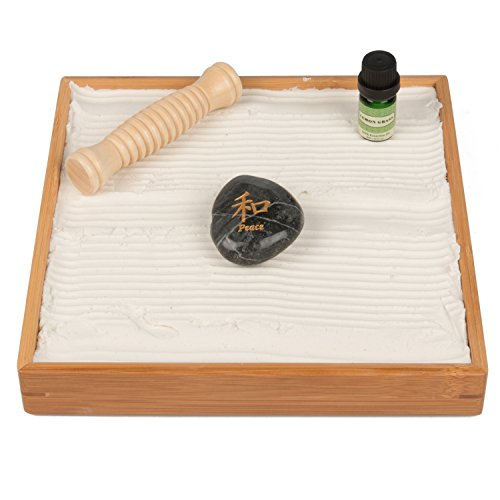 Soothing Sand - Desktop Zen Garden - Unique Play Sand For Shape Building And Relaxation - With Roller and Lemon Grass Oil Aroma Essence (10