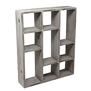Vintage Rustic Torched Wood Rustic Freestanding & Wall Mountable Shadow Box Display Frame With 9 Compartments - Wooden Farmhouse/White Washed Home Decor Picture Shelf for Kitchen, Bedrooms, Bathroom