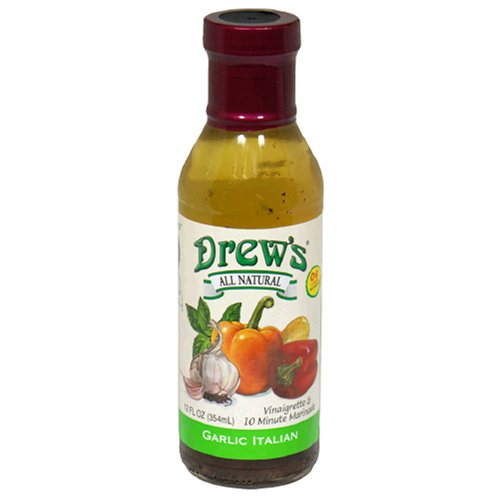 Drew's All-Natural Salad Dressing and 10 Minute Marinade, Garlic Italian, 12-Ounce Bottle