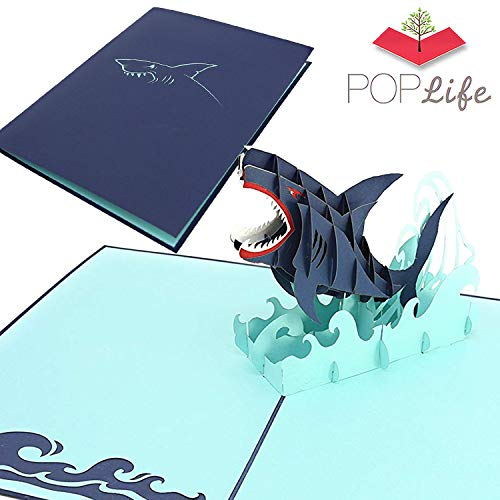 PopLife Great White Shark 3D Fathers Day Pop Up Card - Ocean Birthday Pop Up Fathers Day Card, Congratulations, Get Well - Fold Flat for Mailing - for Friend, for Daughter, for Husband, for Son